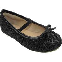 Sapato Boneca Flocada Laã§O - Preta- Luluzinhaluluzinha