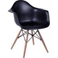 Poltrona Eames Dar- Preta & Madeira- 82X62X44Cm-Or Design