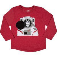 Camiseta Macaco Astronauta- Vermelha & Brancatip Top