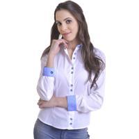 b74dac0f45 Posthaus  95.028 Camisa Social Feminina Modelo E Branca Azul - Feminino -Branco