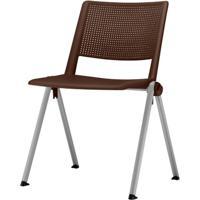 Cadeira Up Assento Marrom Base Fixa Cinza - 54331 - Sun House