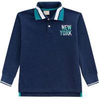 """Polo """"New York"""" Com Fendas - Azul Marinho & Brancamilon"""