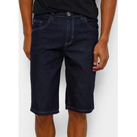 Bermuda Jeans Preston Elastano Amassada Masculina - Masculino-Azul Escuro