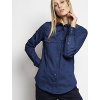 Camisa Jeans Com Bordado - Azul Marinho - Dudalinadudalina