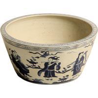 Cachepot Decorativo De Porcelana Carste Azul E Branco