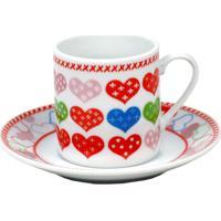 Jogo De Xícaras Para Café Coracões Ref:Dmp2892