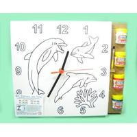 Kit Tela Para Pintar Relógio Kits For Kids Golfinhos Multicolorido