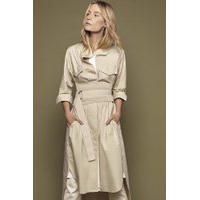Vestido De Tricoline Com Bolsos E Gorgurões Francesca Branco - M