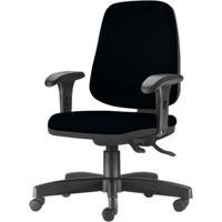 Cadeira Job Diretor Com Bracos Curvados Courino Base Rodizio Metalico Preto - 54638 - Sun House