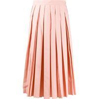 Fendi Embroidered Logo Pleated Skirt - Rosa