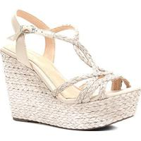 Sandália Plataforma Shoestock Corda Tranças Feminina - Feminino-Off White