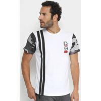 Camiseta Overcore Estampa Camuflada Masculina - Masculino-Branco