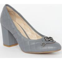3ad6a5a800 Sapato Tradicional Em Couro Matelassê- Cinza Escuro-Capodarte
