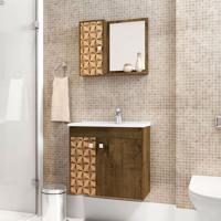 Conjunto Para Banheiro Munique Madeira Rústica E Madeira 3D