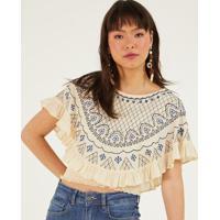 Blusa Cropped Com Recorte Sobreposto - Bege Claro & Azulpop Up