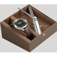 Kit De Relógio Analógico Mondaine Masculino + Canivete - 83409G0Mvnh2Ka Prateado - Único