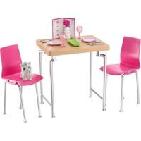 Acessórios Para Bonecas Barbie - Acessórios Para Casinha - Mesa E Cadeiras - Mattel - Feminino