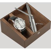 Kit De Relógio Analógico Mondaine Masculino + Canivete - 83410G0Mvnh2Kb Prateado - Único