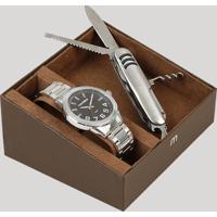 Kit De Relógio Analógico Mondaine Masculino + Canivete - 83451G0Mvne1K Prateado - Único