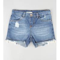 Short Jeans Infantil Com Guipir E Bolsos Azul Médio