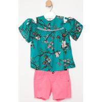 Conjunto De Blusa Floral + Short- Verde & Rosa- Pequpequena Mania