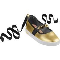 Sapato Boneca Com Amarração Em Couro- Dourado & Pretolilica Ripilica E Tigor T. Tigre