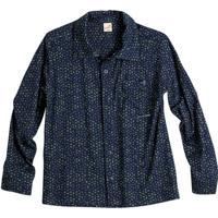 Camisa Geomã©Trica Com Bolso Frontal- Azul Escuro & Amaregreen