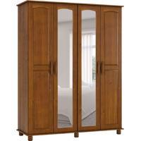 Guarda-Roupa Casal Com Espelho Ônix 4 Pt Imbuia