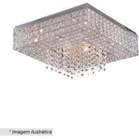 Plafon Quadrado Colmeia Com Pingentes- Cristal & Inox