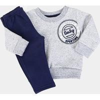 Conjunto Infantil Brandili Moletom Sport Masculino - Masculino-Azul