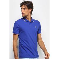 Camisa Polo Coca-Cola Frisos Logo Masculina - Masculino-Azul Escuro