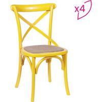 Jogo De Cadeiras Cross- Amarelo & Bege Escuro- 4Pã§S