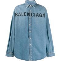 Balenciaga Camisa Jeans Com Logo Bordado - Azul