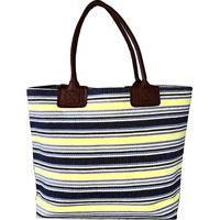 Bolsa Palha Listrada Azul E Amarelo