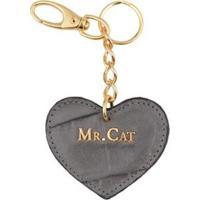 Chaveiro Coração Couro Croco Mr. Cat Masculino - Feminino-Cinza