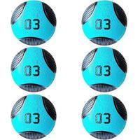 Kit 6 Medicine Ball Liveup Pro A 3 Kg Bola De Peso Treino Funcional - Unissex