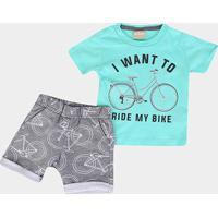 Conjunto Infantil Milon Bike Masculino - Masculino-Verde