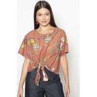 Blusa Floral Com Amarraã§Ã£O- Marrom & Verde- Colccicolcci