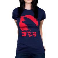 Camiseta Baby Look Hshop Godzilla Azul