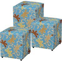 Kit Puffs Lym Decor Quadrado Decorativo 785 Suede Floral Azul