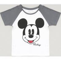 Blusa Infantil Mickey Raglan Manga Curta Decote Redondo Branca
