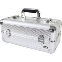 Maleta De Maquiagem Profissional Jacki Design 39Cm Alumínio Prata