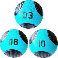 Kit 3 Medicine Ball Liveup Pro 3 8 E 10 Kg Bola De Peso Treino Funcional - Unissex