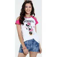 Blusa Juvenil Open Shoulder Estampa Minnie Disney