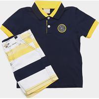 0916d885bb ... Conjunto De Camisa Polo + Bermuda Infantil Milon Masculino - Masculino