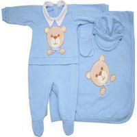 Saída Maternidade I9 Baby Bear Azul 4 Peças