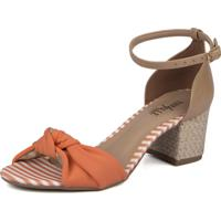 Sandália Trivalle Shoes Laranja Com Laço