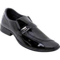 Sapato Social Preto Com Sintético Verniz