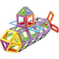Blocos De Montar - Formas Magnéticas - 56 Peças - Dican