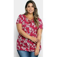 Blusa Cativa Mais Folhagens Plus Size Feminina - Feminino-Bordô